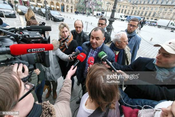 General Secretary of the UfapUnsa penitentiary union JeanFrancois Forget addresses the media as he arrives for a meeting with the French Justice...