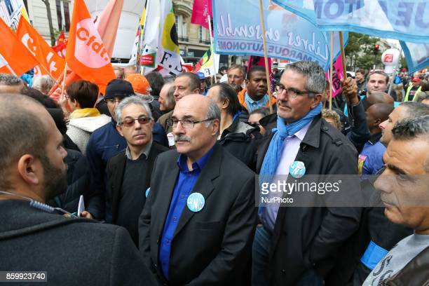 General secretary of the Union nationale des syndicats autonomes Luc Berille and General secretary of police's union UNSA Police Philippe Capon speak...