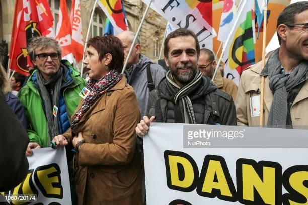 General Secretary of the Union Nationale des syndicats autonomes Education Fréderic Marchand and General Secretary of the Federation syndicale...