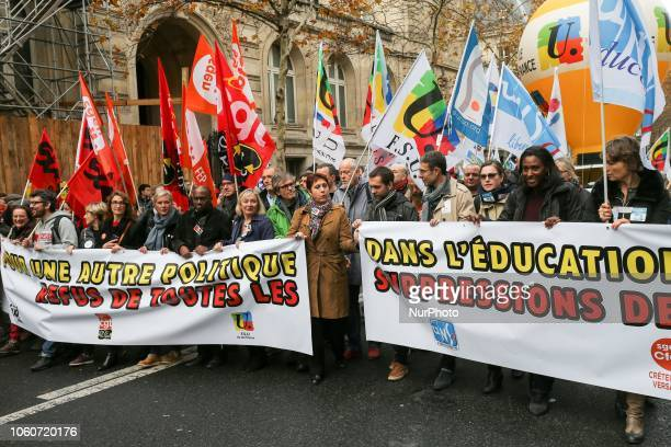 General Secretary of the Union Nationale des syndicats autonomes Education Fréderic Marchand and General Secretary of the Federation syndicale...