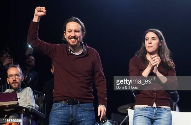 General Secretary of Unidas Podemos Pablo Iglesias and Spokeswoman of Unidas Podemos Irene Montero talks onstage on November 08 2019 in Madrid Spain...