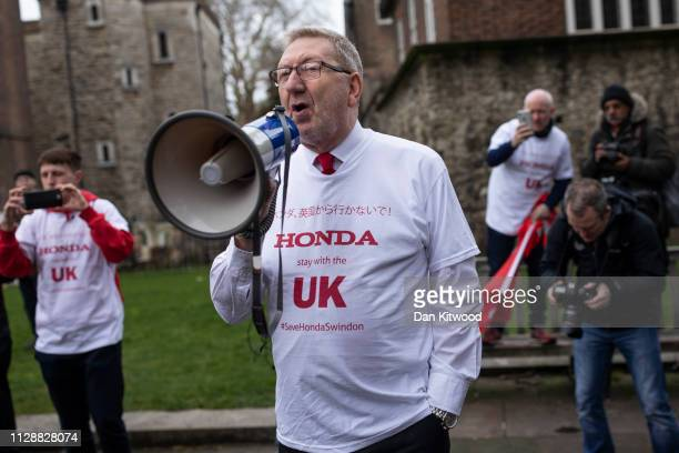 General Secretary of Unite the Union Len McCluskey joins Honda employees as they stage a protest over the planned closure of their Swindon plant...