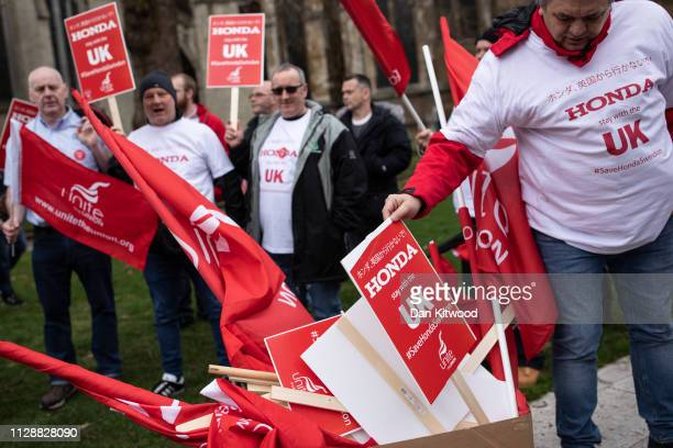 General Secretary of Unite the Union Len McCluskey joins Honda employees as they stage a protest over the planned closure of their Swindon plant,...