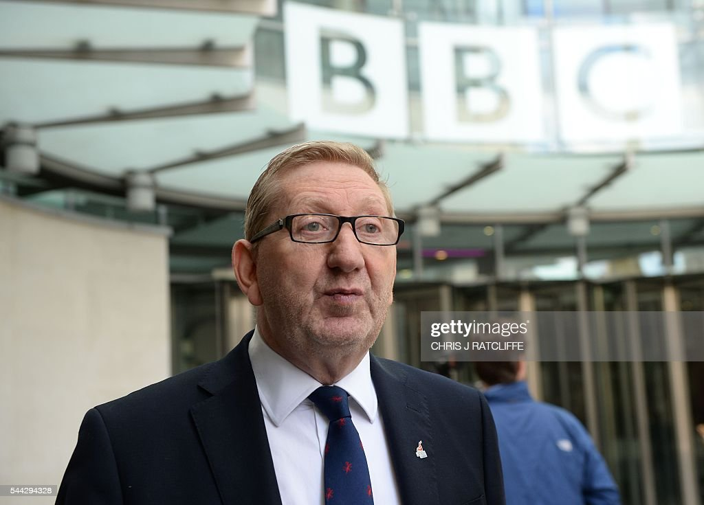 General secretary of Unite Union, Len McCluskey leaves BBC television centre in London after appearing on 'The Andrew Marr Show' in London on July 3, 2016. / AFP / CHRIS