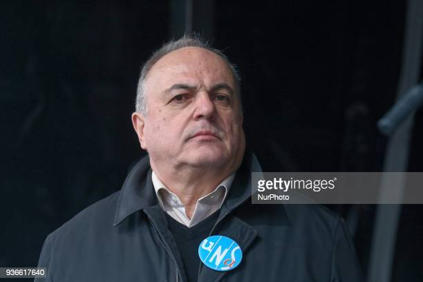 General secretary of UNSA Railway union Roger Dillenseger attends a demonstration in front of the Gare de lEst railway station in Paris on March 22...
