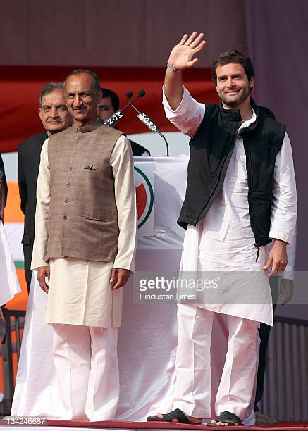 General Secretary Rahul Gandhi stand with DPCC President JP Aggarwal as he addresses the Youth party's national level convention of elected office...