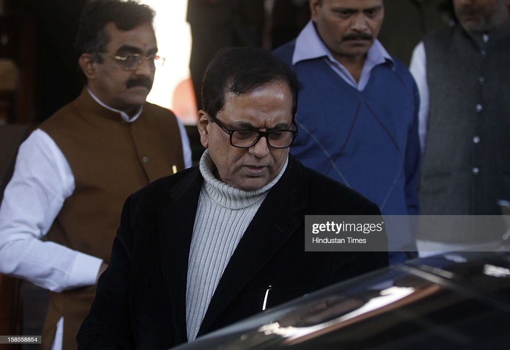 BSP, General Secretary Satish Chandra Mishra out going in parliament after the Samajwadi Party MP, Yashvir Singh snatched the copy of SC/ST Quota Bill from Narayanasamy,of Parliament at Parliament House on December 19, 2012 in New Delhi, India.