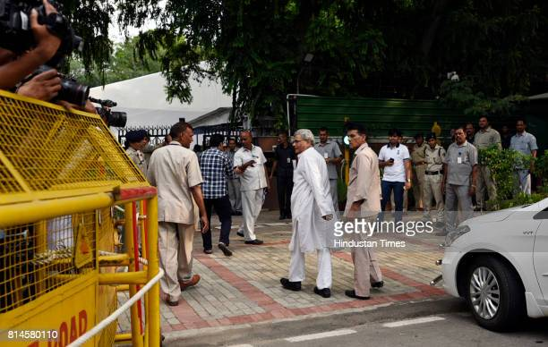 CPI General Secretary Sitaram Yechury arrives at the all party meeting at Rajnath Singh residence