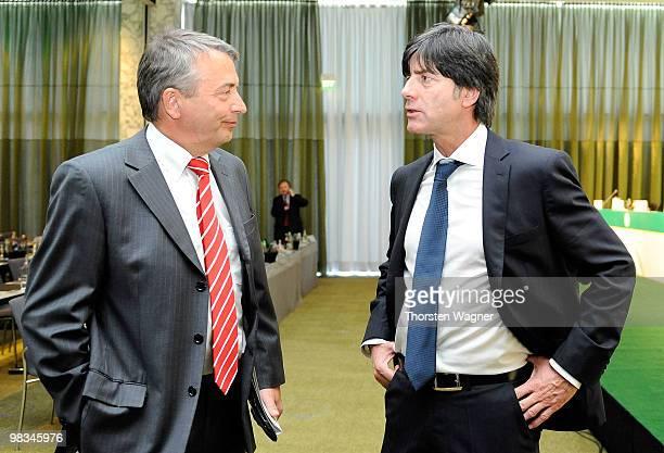 General secretary Wolfgang Niersbach and head coach of German National Football team Joachim Loew talk during the German Football Association...