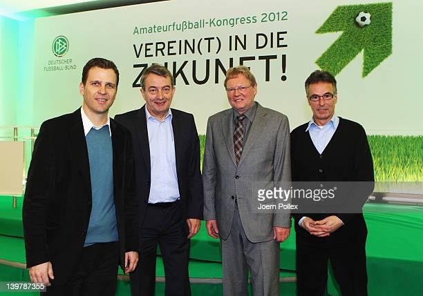 General secretary Wolfgang Niersbach , DFB director Helmut Sandrock , DFB Vice-President Hermann Korfmacher and DFB team manager Oliver Bierhoff are...