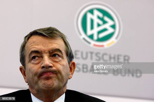 General Secretary Wolfgang Niersbach frowns during a press conference on the rising manipulation scandal in European football at the headquarters of...