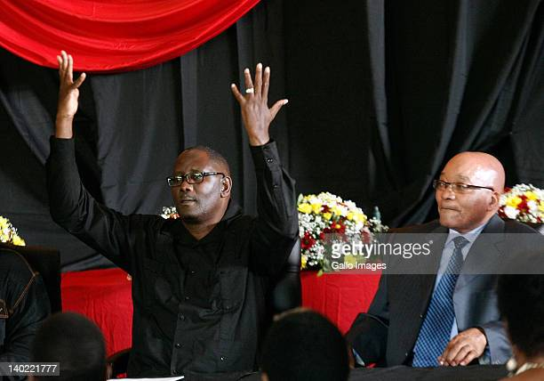 COSATU General Secretary Zwelinzima Vavi and South African President Jacob Zuma attend the opening of the new headquarters of the Congress of South...