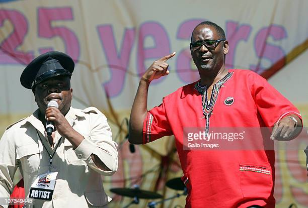 COSATU General secretary Zwelinzima Vavi dances during celebrations marking the 25th Anniversary of the Congress of South African Trade Unions on...