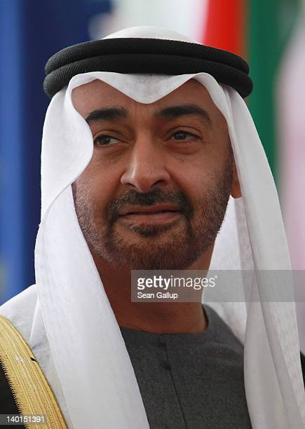 General Sheikh Mohammed bin Zayed Al Nahyan the Crown Prince of Abu Dhabi arrives to meet with German Chancellor Angela Merkel at the Chancellery on...