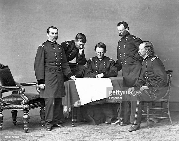General Sheridan poses with his generals Gen George Forsyth Gen Wesley Merritt Gen George Crook and Gen George Custer
