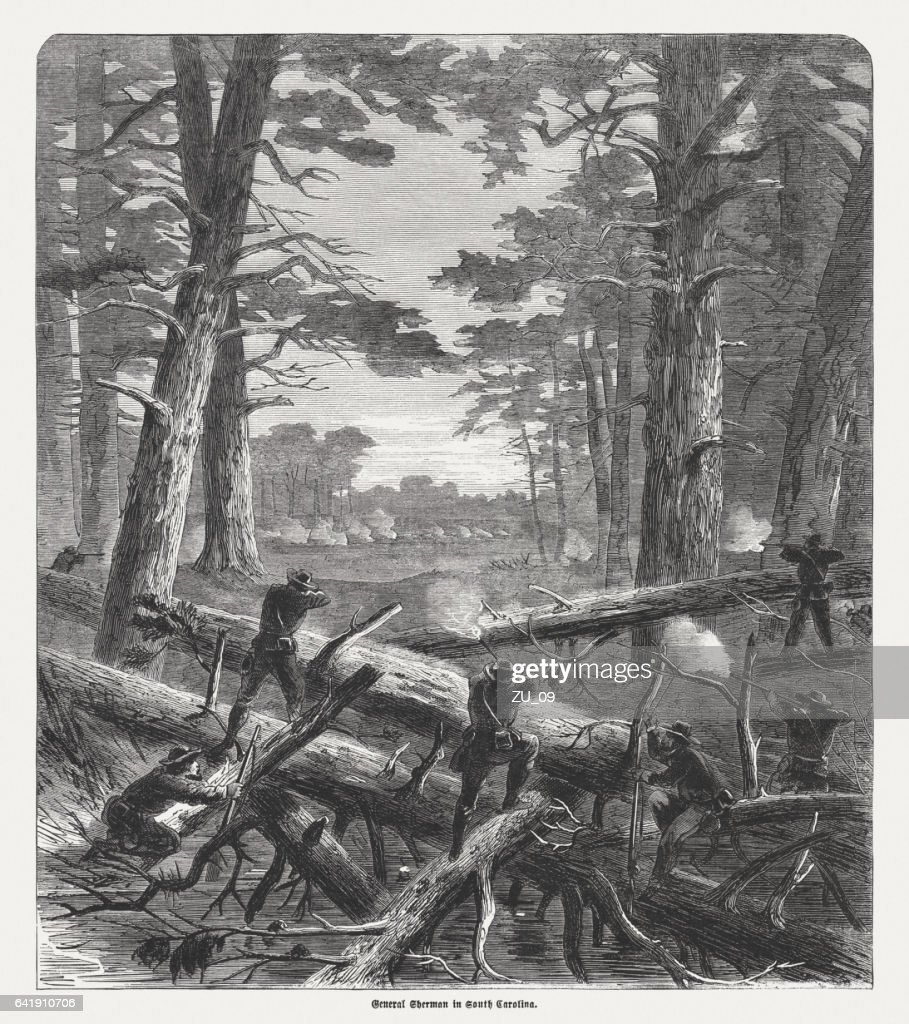 General Sherman in South Carolina, American Civil War, published 1865 : Stock Photo