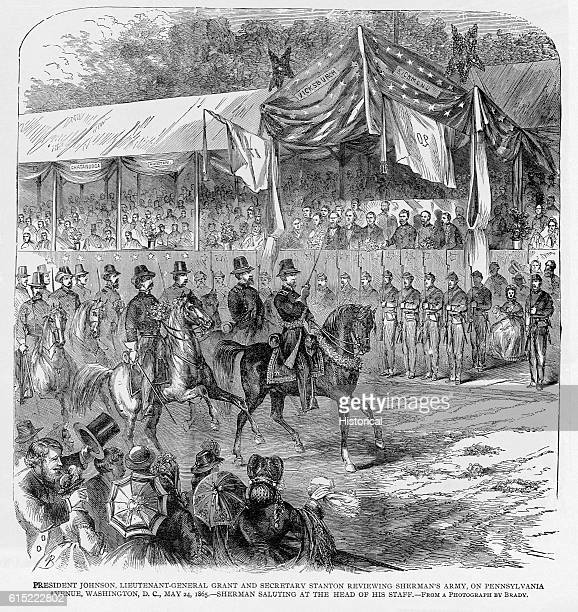 General Sherman salutes President Johnson General Grant and Secretary Stanton as he leads his army in a victory parade down Pennsylvania Avenue on...