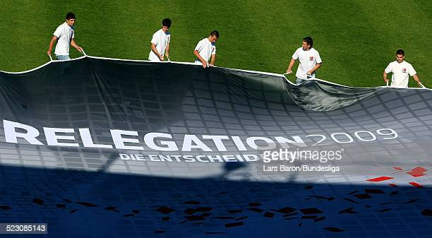 General shoot of the official logo priro to the Bundesliga Play Off match between FC Energie Cottbus and 1.FC Nuernberg at the Stadion der...