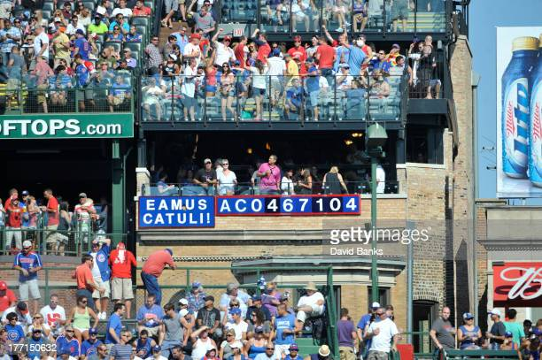 A general shot of fans on the rooftops during a game between the Chicago Cubs and the St Louis Cardinals on August 17 2013 at Wrigley Field in...