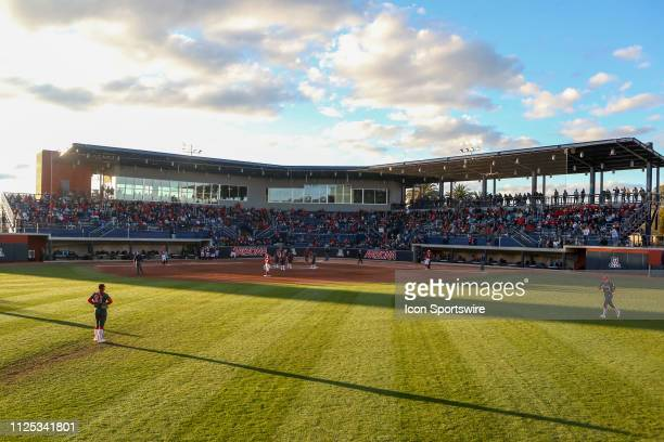 A general shot of Hillenbrand Stadium during a college softball game between the Alabama Crimson Tide and the Arizona Wildcats on February 16 at...
