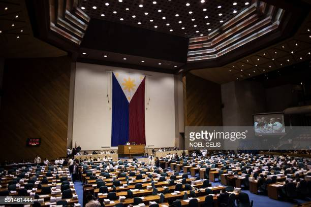 A general shot shows the session hall of the House of Representatives in Manila on December 13 during the deliberations to extend Martial Law in...