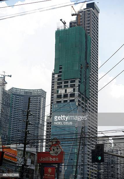 A general shot shows the Trump Tower still under construction in Manila on July 31 2015 AFP PHOTO / NOEL CELIS