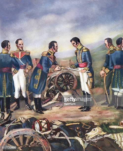 General Simon Bolivar accepting the surrender of General Rodil after the defeat of the Spanish Army at Boyaca.Undated illustration.