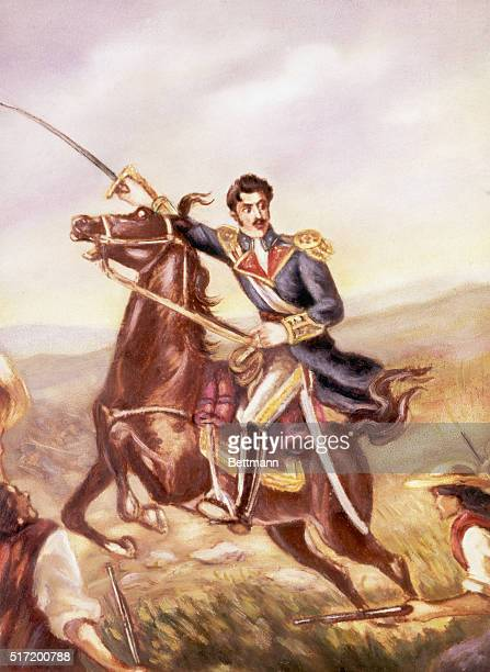 General Simon Bolivar leading his troops in fight for Colombian independence.