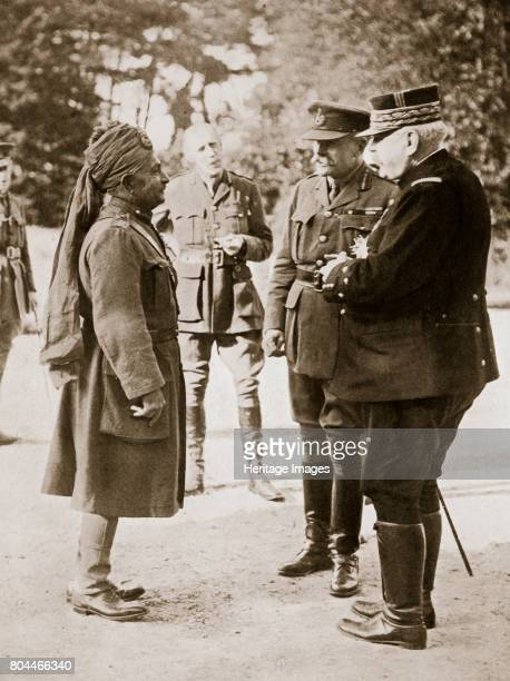 General Sir Douglas Haig introducing General Joffre to LieutenantGeneral Sir Pertab Singh 1916 During the Somme Offensive France World War I...