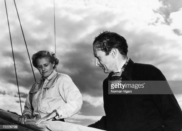 General Sir Frederick Browning on board his yacht Jeanne D'Arc at Fowey with his wife Lady Browning novelist Daphne du Maurier August 1952