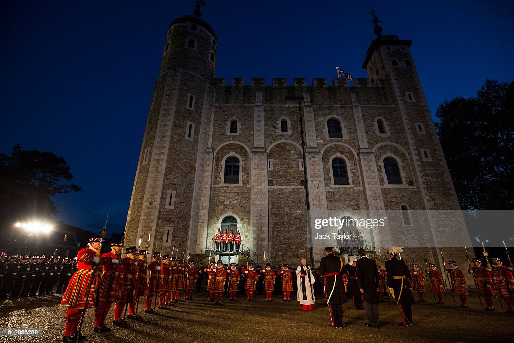 General Sir Nicholas Houghton is installed as the 160th Constable of the Tower of London during a ceremony in front of the White Tower at Tower of London on October 5, 2016 in London, England. The role of Constable, while largely ceremonial, is the most senior appointment at the Tower of London and one of the most ancient offices in England, dating back to around 1078.