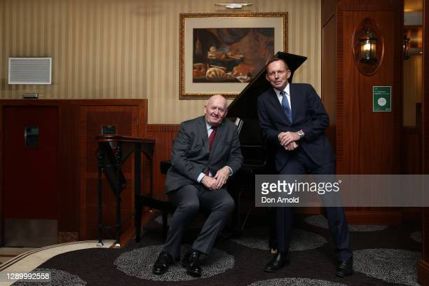 General Sir Peter Cosgrove and former PM Tony Abbott attend the 'On A Winner'125 Years of City Tattersalls Club book launch on December 08, 2020 in...