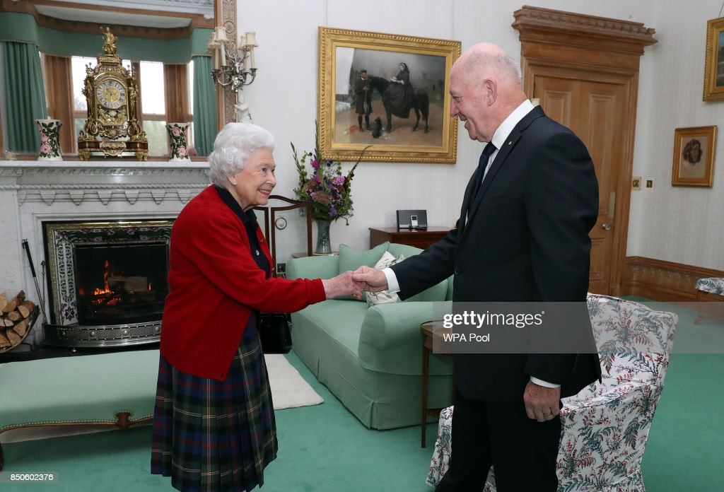 General Sir Peter Cosgrove, the Governor-General of Australia, meets Queen Elizabeth II during a private audience in the Drawing Room at Balmoral Castle on September 21, 2017 in Scotland.