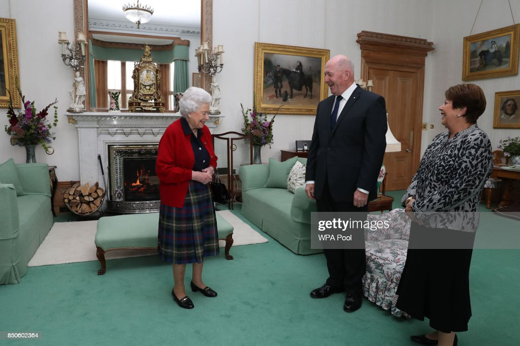 General Sir Peter Cosgrove, the Governor-General of Australia with Lady Cosgrove as they meet Queen Elizabeth II during a private audience in the Drawing Room at Balmoral Castle on September 21, 2017 in Scotland.