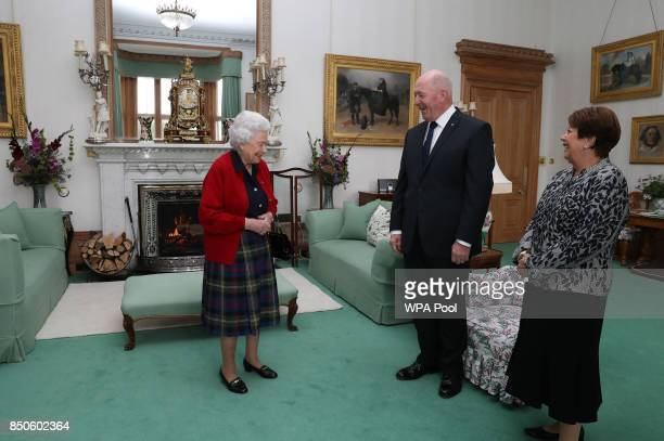 General Sir Peter Cosgrove, the Governor-General of Australia with Lady Cosgrove as they meet Queen Elizabeth II during a private audience in the...