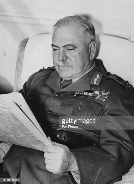 General Sir Thomas Blamey the CommanderinChief of the Australian Military Forces reads the newspaper in his room at the Savoy Hotel London 9th May...