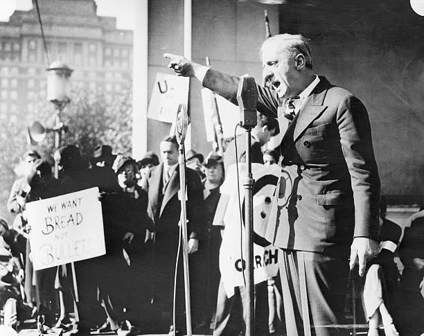 General Smedley D. Butler, U.S. Marines, retired, pictured as he addressed a crowd of 6,000 participants in an anti-war demonstration on Reyburn...