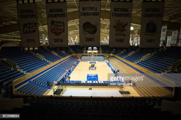 A general stadium shot of Cameron Indoor Stadium prior to the game between the Louisville Cardinals and the Duke Blue Devils at Cameron Indoor...