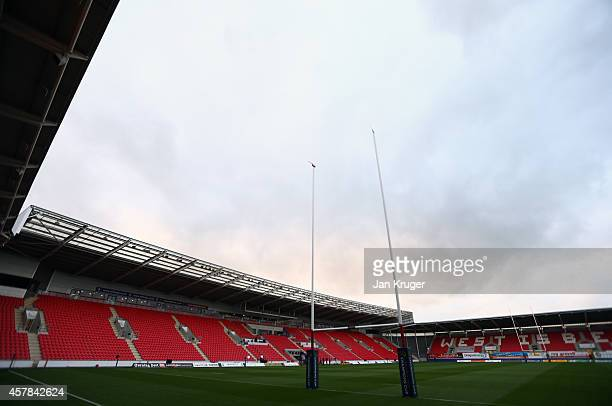 General stadium view ahead of the European Rugby Champions Cup match between Scarlets and Leicester Tigers at Parc y Scarlets on October 25, 2014 in...