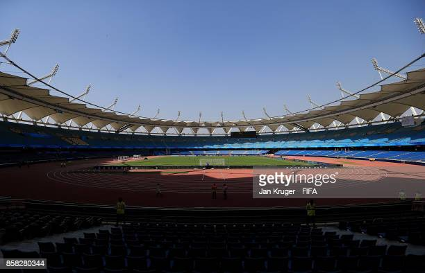 A general stadium view ahead of the FIFA U17 World Cup India 2017 group A match between Colombia and Ghana at Jawaharlal Nehru Stadium on October 6...