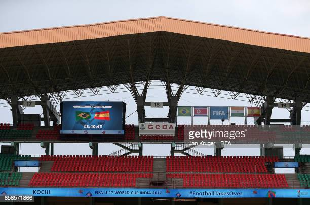General stadium view ahead of the FIFA U17 World Cup India 2017 group D match between Brazil and Spain at Jawaharlal Nehru International Stadium on...