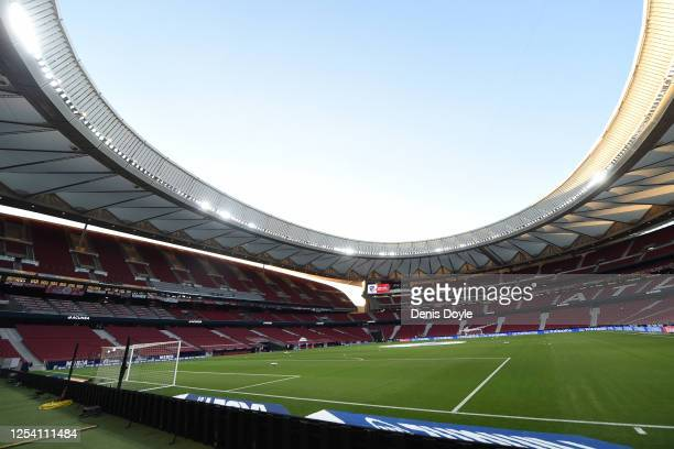 General stadium view ahead of the Liga match between Club Atletico de Madrid and RCD Mallorca at Wanda Metropolitano on July 03, 2020 in Madrid,...