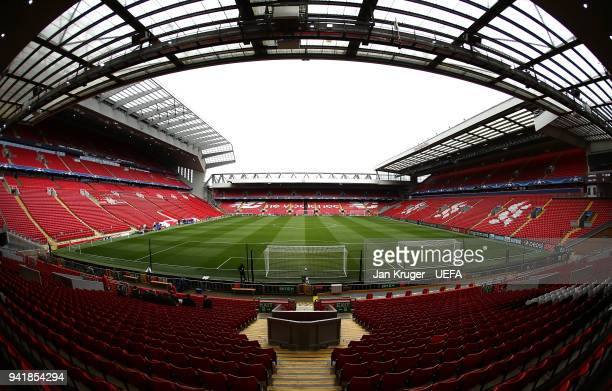 General Stadium view ahead of the UEFA Champions League quarter final leg one match between Liverpool and Manchester City at Anfield on April 4 2018...