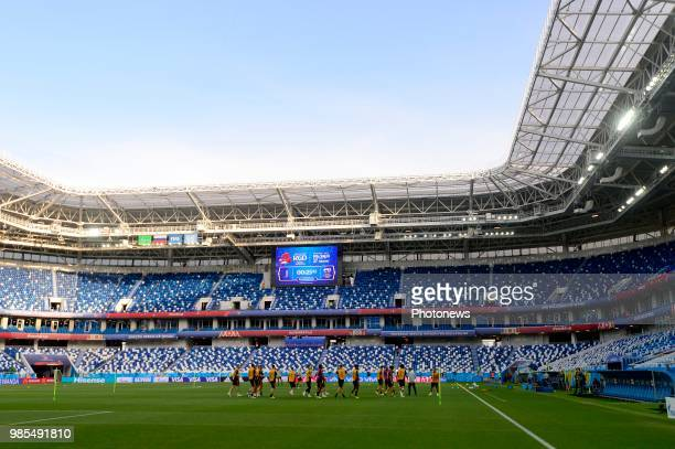 General stadium view during a training session of the National Soccer Team of Belgium prior to the FIFA 2018 World Cup Russia group G phase match...