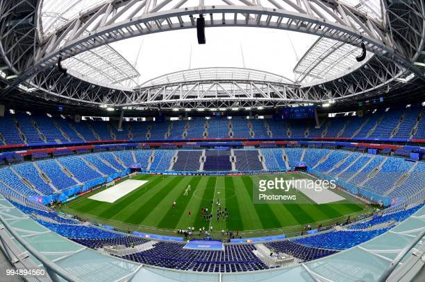 General stadium view during a training session of the National Soccer Team of France prior to the FIFA 2018 World Cup Russia SemiFinal match between...