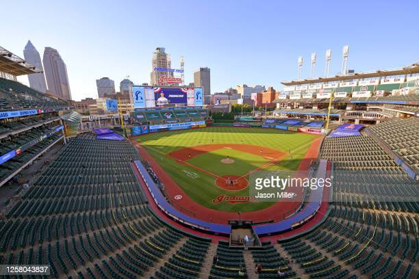 General stadium view during the first inning of the Opening Day game between the Cleveland Indians and the Kansas City Royals at Progressive Field on...