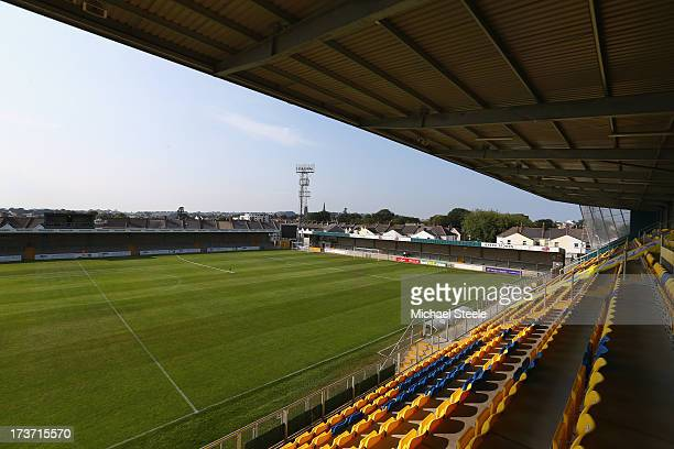 General stadium view during the Pre Season Friendly match between Torquay United and Yeovil Town at Plainmoor Ground on July 16, 2013 in Torquay,...