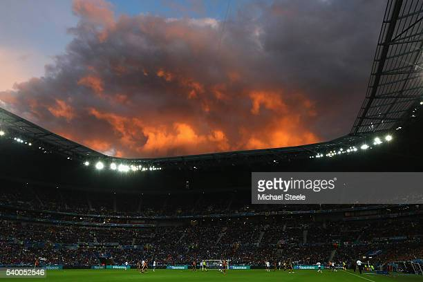 General stadium view during the UEFA EURO 2016 Group E match between Belgium and Italy at Stade des Lumiere on June 13 2016 in Lyon France