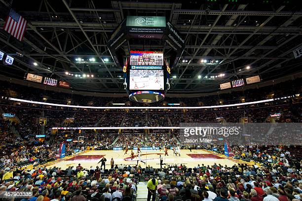 A general stadium view of Quicken Loans Arena during the game between the Cleveland Cavaliers and the Brooklyn Nets on October 30 2013 in Cleveland...