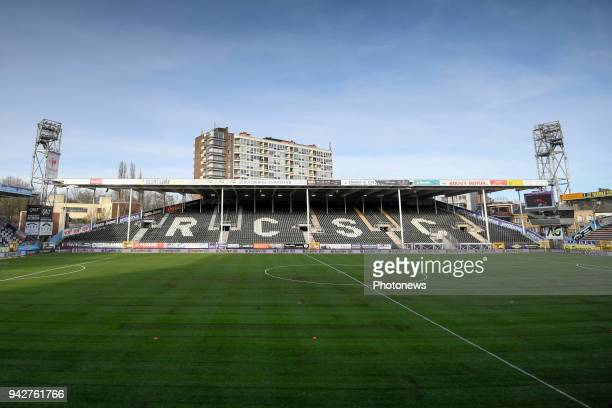 General stadium view with the new lawn before the Jupiler Pro League Play Off 1 match between Sporting Charleroi and RSC Anderlecht at the Stade du...